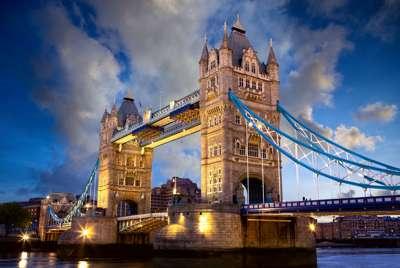 Tower Bridge in London at Sunset