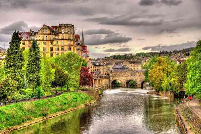 View of Bath town over the River Avon, England